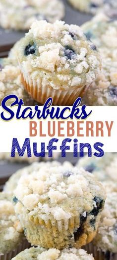 This easy blueberry muffin recipe is a Starbucks Copycat Recipe! - This easy blueberry muffin recipe is a Starbucks Copycat Recipe! Starbucks Blueberry Muffins have a - Blueberry Crumble Muffins, Homemade Blueberry Muffins, Blueberry Desserts, Blue Berry Muffins, Starbucks Blueberry Muffin Recipe, Cinnamon Muffins, Blueberry Bread, Cinnamon Rolls, Blueberry Muffin Recipe Sour Cream