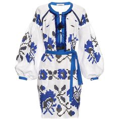 Vita Kin Poppy embroidered linen dress ($1,998) ❤ liked on Polyvore featuring dresses, blue white, poppy print dress, blue and white dress, broderie dress, embroidery dresses and loose fit dress