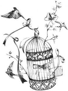 Birds With Birdcage Decoupage Vintage, Vintage Paper, Coloring Books, Coloring Pages, Adult Coloring, Etiquette Vintage, Buch Design, Shabby, Foto Transfer