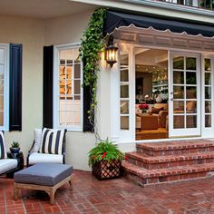 patios stepping down from home Brick Steps Design Ideas Remodel ChristiCaldwell Patio Steps, Brick Steps, Door Steps, Front Steps, French Doors Patio, Patio Doors, French Patio, Outdoor Rooms, Outdoor Living