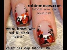 Red & Black Valentine Nail Design | AmazingNailArt.org