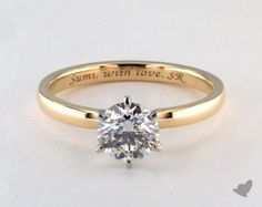 18K Yellow Gold 2mm Comfort Fit Solitaire Engagement Ring (Six Prong) | 17928Y - Mobile