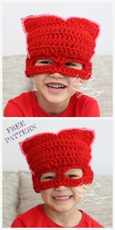 PJ Mask Hat Free Crochet Patterns – DIY Magazine Best Picture For ganchillo Crochet For Your Taste You are looking for something, and it is. Slouch Hat Crochet Pattern, Crochet Mask, Crochet Beanie Hat, Free Crochet, Crochet Granny, Halloween Crochet Patterns, Easy Crochet Patterns, Hat Patterns, Stitch Patterns