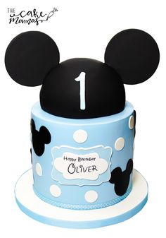 Simple Mickey Mouse Inspired First Birthday Cake! Call or email to book your custom design today! #mickey #mickeymouse #disney #cake #birthday #birthdaycake #simple #celebrate