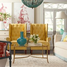 CR Laine's Gavin Chairs in Echo Marigold  Leather and Laney Sofa. (www.crlaine.com)
