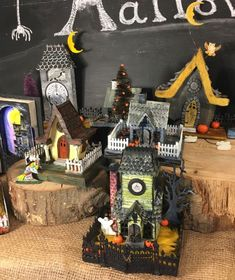 The Halloween 2016 collection of Haunted Houses. Most of them I talked about on my blog - withglueandglitter.blogspot.com. I have a blast making these little houses.