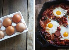 Must Have Recipes for Bacon Lovers - Saucy Bacon and Chorizo Baked Eggs from Lexi's Clean Kitchen - See more at: http://fitfluential.com/2014/10/must-have-recipes-for-bacon-lovers/#sthash.1vhEY07f.dpuf