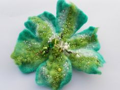 Wool Felted Turquoise Emerald and Spring Light Green by MaijaFeja, $30.00