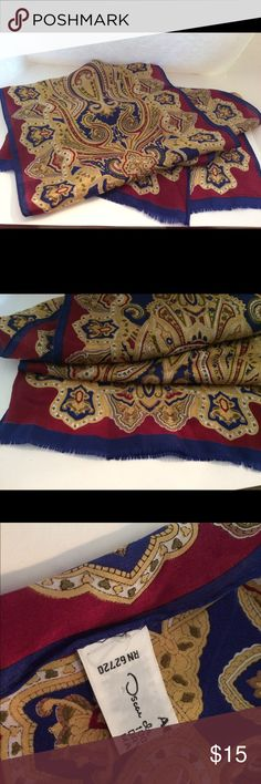 """Oscar de la Renta Silk Long Scarf, Jewel Tones Vintage Oscar de la Renta Long Scarf, Accessory Street. 100% silk. Beautiful Paisley pattern in jewel tones. Fashion frayed edges on ends only. Measures 51.5"""" x 10"""". One very tiny hole. Beautiful scarf in good used vintage condition. Made in Japan. Oscar de la Renta Accessories Scarves & Wraps"""