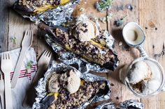 Oatmeal Chocolate Chunk Cookie Stuffed Campfire Bananas | halfbakedharvest.com @hbharvest