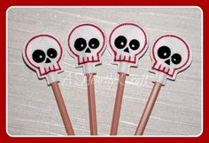Felt Sugar Skull Pencil Topper **WITHOUT PENCILS** Handmade Embroidered Party Favors Celebration Christmas Xmas Gift by AHeartlyCraft on Etsy