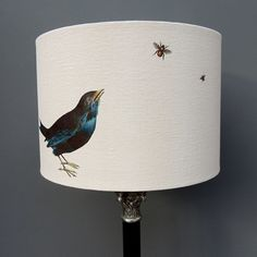 30cm drum lamp shade with blackbird and bees £47.00