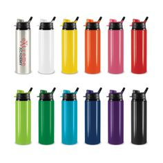 Mirage Drink Bottle - 750ml aluminium drink bottle with a lid that features a leak proof snap cap and carry handle. The bottle and flip cap can be mixed and matched in 132 colour combinations.   Laser engraves to an Oxidised White colour. Optional gift box available.