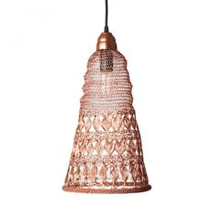 Handmade crocheted lights made from copper wire, which are a nice collaboration from Lightly, supporting a small weaving village in India. Hang individually o Wire Pendant, Ceiling Pendant, Pendant Lighting, Ceiling Lights, Wicker Lamp Shade, Cool Chandeliers, Creative Lamps, Bamboo Design, Decorative Bells