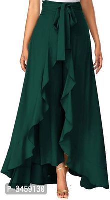 Solid Color Crepe Ruffle Palazzo in Teal Geen Fashion Pants, Hijab Fashion, Fashion Dresses, Red Skirts, Casual Skirts, Dark Green Skirt, Pola Rok, Modelos Fashion, Plus Size Skirts