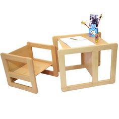 Set Mobilio Multifunzionale 3 In 1 Per Bambini Un Tavolino Multifunzionale E Una Sedia Multifunzionale Per Bambini O Due Tavolini Caffè Per Adulti In Faggio Lacca Naturale