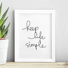 Keep Life Simple http://www.amazon.com/dp/B017091NV8 word art print poster black white motivational quote inspirational words of wisdom motivationmonday Scandinavian fashionista fitness inspiration motivation typography home decor