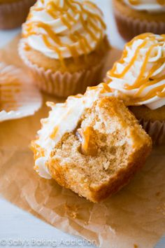 Super-moist Butterscotch Filled Brown Sugar Cupcakes! These are my favorite.