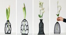 Reuse and upcycle your old plastic bottles with these 3D printed sculptural vases by Designer Libero Rutilo of @DesignLibero