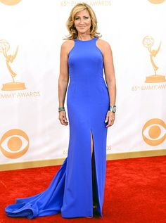 Edie Falco wore a custom blue scuba stretch silk Escada gown at the 2013 Emmys.