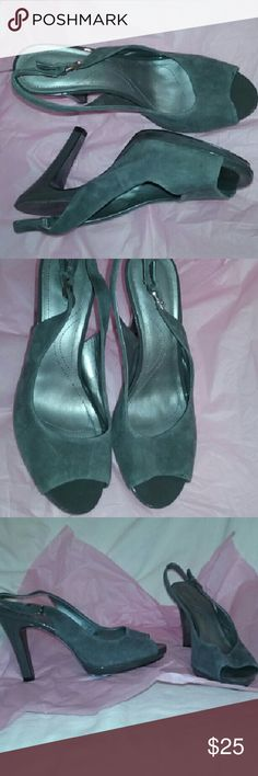 Tahari Peep Toe Slingbacks Gray Suede 8M In fair condition. Structurally great, small mark on genuine leather suede upper at front of left shoe and out soles dirty. Still so pretty, such a feminine find. Tahari Shoes