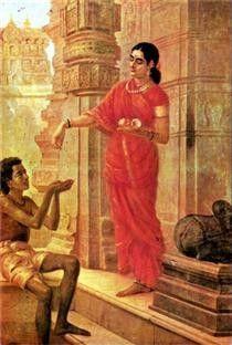 Raja Ravi Varma Oil Painting 71 - Lady Giving Alms Ravivarma Paintings, Indian Art Paintings, Realistic Paintings, Original Paintings, Indian Women Painting, Indian Artist, Raja Ravi Varma, Indian Literature, Indian Artwork