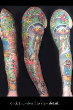 Video Game Tattoo Sleeve. Artist: Andrea Ottlewski