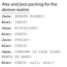 Alec and Jace packing for the demon realms in City of Heavenly Fire | TMI Shadowhunters | Clace