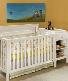 Look at this #zulilyfind! White Cogan Four-in-One Convertible Crib & Changing Table Set #zulilyfinds