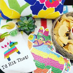 Just in time for #tacotuesday it's the cutest festive fiesta you ever did see!New from @hesterandcook paper table runners piñata placemats and fab white wine tumblers (so monogramable!!) I think we'll say olè! (Shout out to our awesome neighbors @bubbagarcias for party photo props!) #tfssi #stsimonsisland #seaisland #goldenisles #fiesta #party #partytime #pinata #festive #color #happy #cocktails #margarita