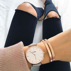 The perfect afternoon ensemble #CLUSE #watch #fashion Our style inspiration for our #minimalistjewelry #minimalistjewellery #minimalist #jewellery #jewelry #jewelleries #jewelries #minimalistaccessories #bangles #bracelets #rings #necklace