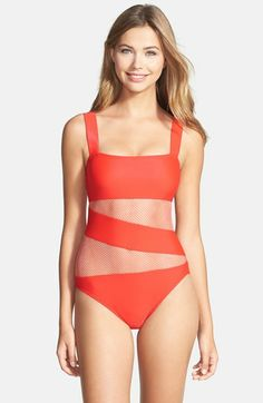 DKNY 'Mesh Splice' Maillot available at #Nordstrom