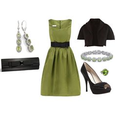 """""""Chartreuse Cocktail Dress Outfit (New Years)"""" by ggdesigns on Polyvore"""