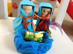 Toilet Paper  rolls - Nativity set for toddlers made with TP rolls,   napkins and scrap ribbon!  Lots of fun!