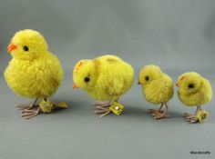 Steiff-Woolen-Chick-Lot-4-Baby-Chicken-Yellow-6-4-cm-1960s-ID-Button-Tag-Vtg