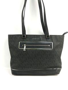 ff6d34447dc5 Michael Kors Bag · Michael Kors Black Silver Frame Out Large North South  Tote Zip Black Leather #MichaelKors #