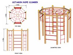 DIY Climber for small yard. Add solid, partially enclosed deck at the top. And more options for climbing -- tire climb, rope, rope ladder, rock wall, pole ladder, fireman's pole, net, and then have a slide