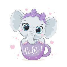 Baby Girl Elephant, Elephant Baby Showers, Cute Elephant, Cute Animal Drawings, Cartoon Drawings, Baby Shower Clipart, Girl Shower, Zodiac Art, Baby Art