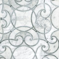 Abigail, a stone and waterjet glass mosaic, inspired by French country design and the lush gardens of Renaissance Europe  | Parterre Collection | New Ravenna