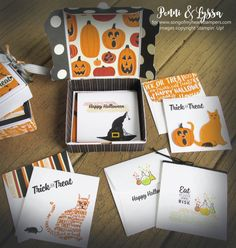 Mini pizza box projects stampin up treat holder candy 3x3 cards emvelopes Lyssa halloween spooky cat