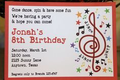 Music Birthday Party Invitations. $1.00, via Etsy.