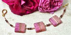 Garnet & Murano Glass Square Bracelet £38.50