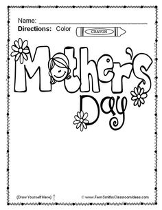 #FREE Mother's Day Fun! Color For Fun Printable Coloring Page #TPT #FernSmithsClassroomIdeas