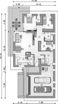 Parterowy dom na działkę z wjazdem od południa - Studio Atrium House Layout Plans, Dream House Plans, House Layouts, House Floor Plans, Minimalist House Design, Modern House Design, Small Modern House Plans, Modern Bungalow House, Architectural House Plans