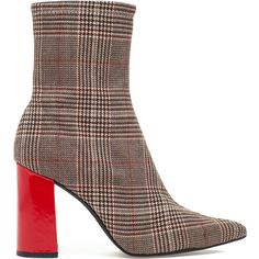 JEFFREY CAMPBELL Siren Boot Brown Plaid/Red (125 CAD) ❤ liked on Polyvore featuring shoes, boots, ankle booties, ankle boots, brown ankle boots, block heel bootie, high heel booties and neoprene booties