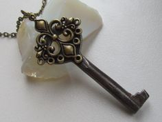 Your place to buy and sell all things handmade Industrial Jewelry, Old Keys, Costume Necklaces, Key Necklace, Steel Chain, Antique Brass, Filigree, Belly Button Rings, Steampunk