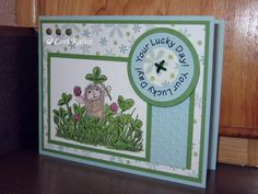 We are having a fun day. This morning I finished the card I started yesterday afternoon, Yea! I did have to let my kids do a little stamping… Have A Great Thursday, St Patricks Day Cards, House Mouse Stamps, Afternoon Delight, Lucky Day, Cardmaking, Stamping, Card Ideas, Decorative Boxes