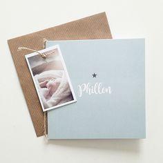 Phillon geboortekaartje oud mint blauw scandinavisch