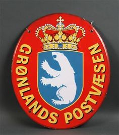 Emaljeskilt fra Grønlands Postvæsen. H 50 cm, B 42 cm. Hjemtaget af tidligere postmedarbejder <br>Fremstår med mindre afslag i kanten