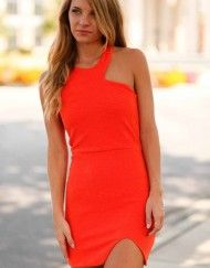 Orange Asymmetrical Dress 5- Lotus Boutique